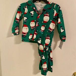 NWT Carter's green Santa pajama set 3T